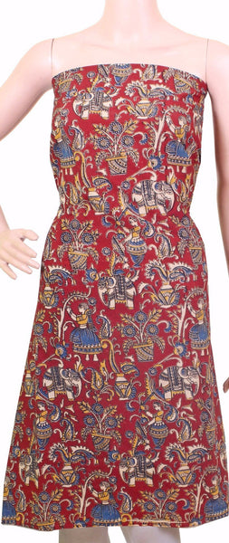 Kalamkari Cotton Salwar Tops/Kurti material with village theme - Red (26081A) - Swadeshi Boutique