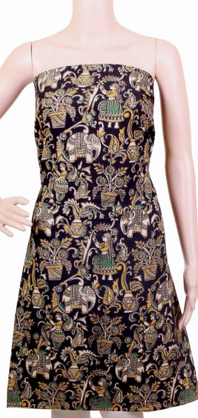 Kalamkari Cotton Salwar Tops/Kurti material with village theme - Black (26081B)