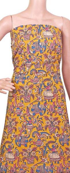 *Kids Size - Intro Offer* Kalamkari Cotton Salwar Tops/Kurti material with village theme - Yellow (K26009A)