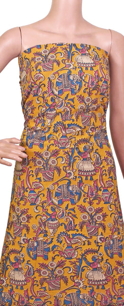 Kalamkari Cotton Salwar Tops/Kurti material with village theme - Yellow (26081C), Tops - Swadeshi Boutique