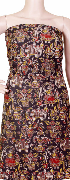 Kalamkari Cotton Salwar Tops/Kurti material with village theme - Black (26081D)