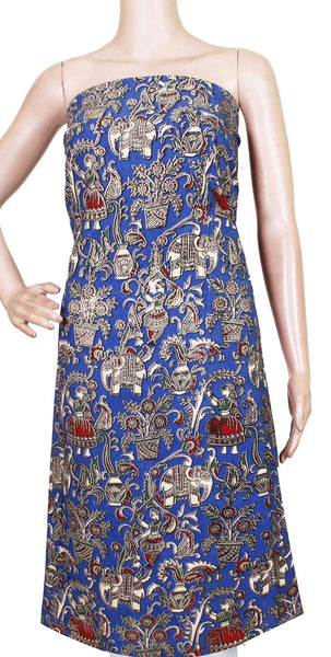 *Kids Size - Intro Offer* Kalamkari Cotton Salwar Tops/Kurti material with Village Theme - Blue(K26009C)