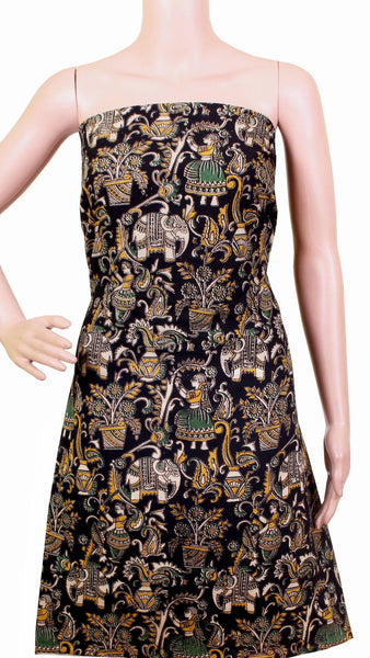 *Kids Size - Intro Offer* Kalamkari Cotton Salwar Tops/Kurti material with village theme - Black (K26009B)