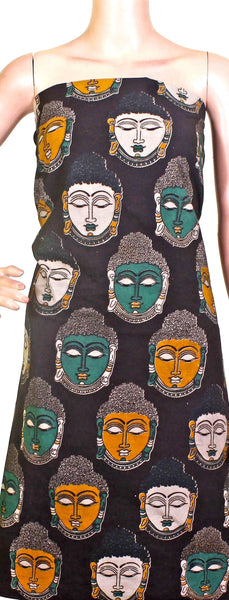 Kalamkari Cotton Salwar Tops/Kurti material with bhuddha face (26082C), Tops - Swadeshi Boutique