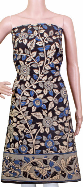Kalamkari Cotton Salwar Tops/Kurti material with flowers - Black (26083A)