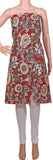 Kalamkari Cotton Salwar Tops/Kurti material with Flowers - Red (26088A), Tops - Swadeshi Boutique