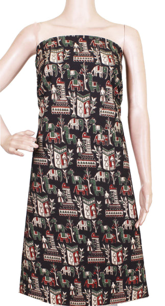 Kalamkari cotton Salwar Tops/Kurti material with Village Theme - Black(26089G) *50% Off Sale*, Tops - Swadeshi Boutique
