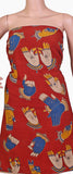 Kalamkari Cotton Salwar Tops/Kurti material with Hands mudhra - Red(26090A) * Clearance sale*, Tops - Swadeshi Boutique