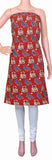 Kalamkari Cotton Salwar Tops/Kurti material  with IKKAT Print - Red (26092C), Tops - Swadeshi Boutique