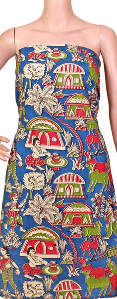Kalamkari Crepe Silk Salwar Tops/Kurti material with beautiful Village theme - Blue (26097A)