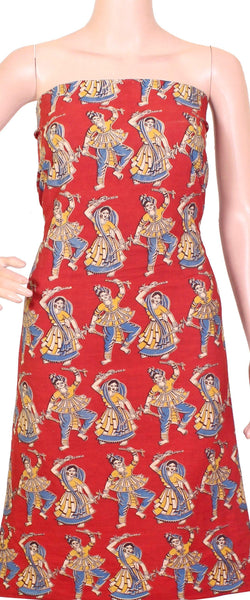 *Kids Size - Intro Offer* Kalamkari Cotton Salwar Tops/Kurti material with dhandiya dance - Red (K26007A)