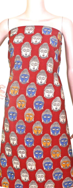 Kalamkari cotton Salwar Tops/Kurti material with bhuddha faces (26105D) *Sale 50% Off*, Tops - Swadeshi Boutique