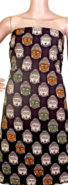 Kalamkari cotton Salwar Tops/Kurti material with bhuddha faces (26105F) *Sale 50% off* - Swadeshi Boutique