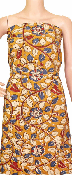 Kalamkari Cotton Salwar Tops/Kurti material with Florals - Yellow(26106A), Tops - Swadeshi Boutique