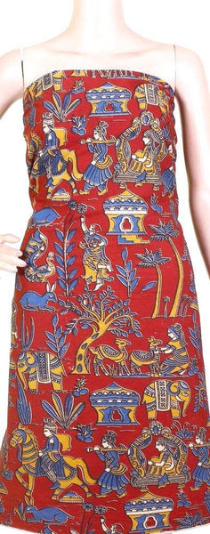 Kalamkari cotton salwar Tops/Kurti material with Village theme (26114A), Tops - Swadeshi Boutique