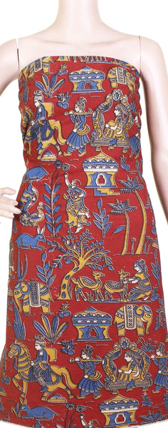 * Popular Sale Rs.75 Off * Kalamkari Cotton Salwar Tops/Kurti material with Village theme - Red (26114A)