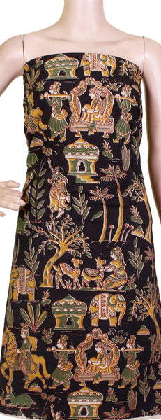 Kalamkari Cotton Salwar Tops/Kurti material with Village theme - Black (26114B), Tops - Swadeshi Boutique