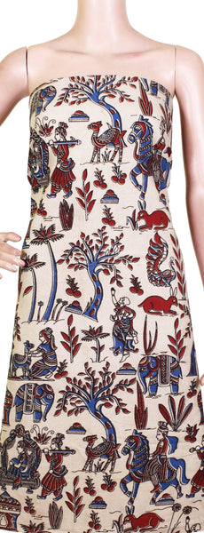 Kalamkari cotton salwar Tops/Kurti material with village theme ( 26114C), Tops - Swadeshi Boutique