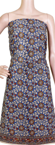 Kalamkari cotton Salwar Tops/Kurti material with Flowers (26115B), Tops - Swadeshi Boutique