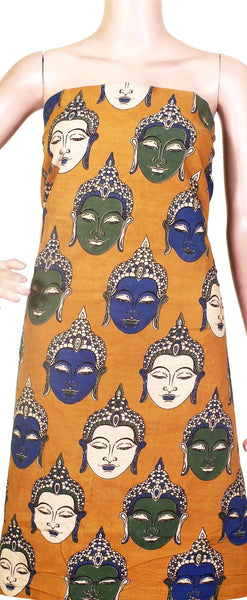 Kalamkari Cotton Salwar Tops/Kurti material with Bhudha faces - Yellow (26118B), Tops - Swadeshi Boutique