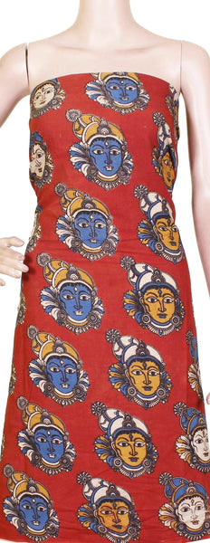Kalamkari Cotton Salwar Tops/Kurti material with Faces - Red (26120A)