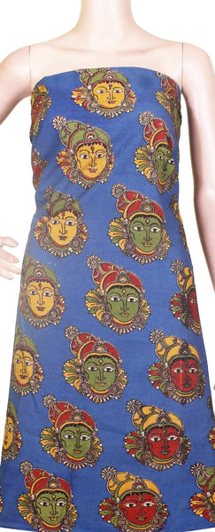 Kalamkari Cotton Salwar Tops/Kurti material with Faces - Blue (26120B), Tops - Swadeshi Boutique