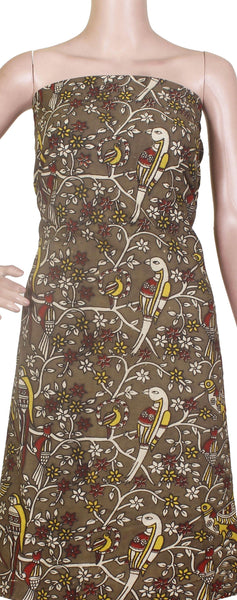 Kalamkari Cotton Salwar Tops/Kurti material with Flowers & Parrots - 26121A