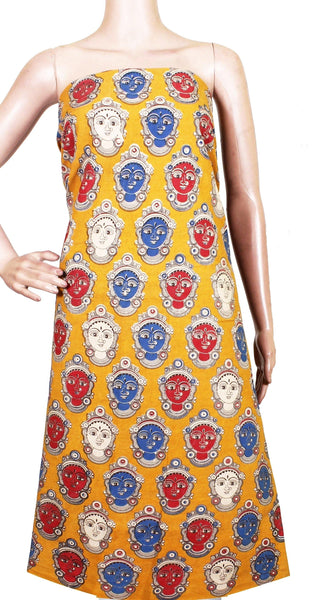 Kalamkari cotton Salwar Tops/Kurti material with Devi faces - Yellow(26122A), Tops - Swadeshi Boutique