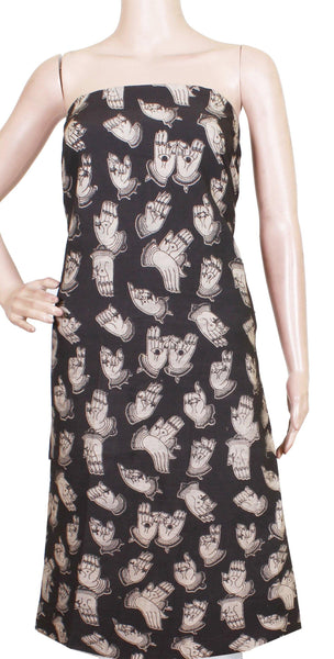 *Kids Size - Intro Offer* Kalamkari Cotton Salwar Tops/Kurti material with Hand Mudhra - Black(K26006A)