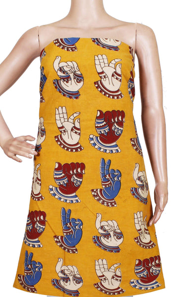 * Popular Sale Rs.75 Off * Kalamkari Cotton Salwar Tops/Kurti material with Hand Mudhra - Yellow(26125B)