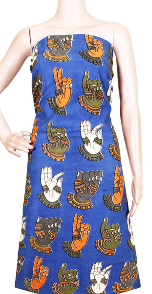Kalamkari cotton Salwar Tops/Kurti material with Hand Mudhras - Blue(26125A), Tops - Swadeshi Boutique