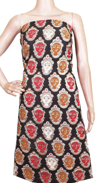 Kalamkari cotton Salwar Tops/Kurti material with Devi faces - Black(26122B) - Swadeshi Boutique