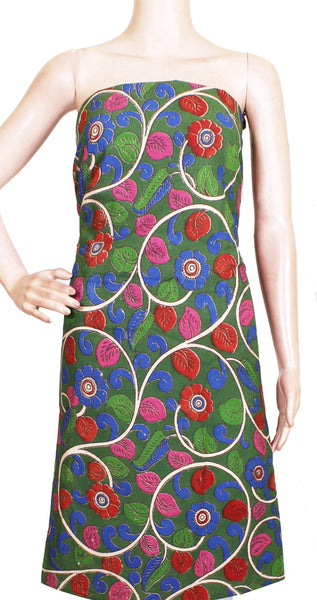 Kalamkari Cotton Salwar Tops/Kurti material with Flourals- Green(26129A), Tops - Swadeshi Boutique