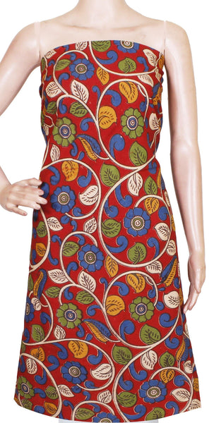 Kalamkari Cotton Salwar Tops/Kurti material with Flourals - Red(26129B), Tops - Swadeshi Boutique