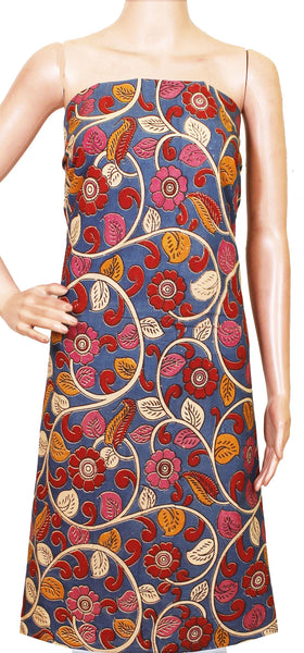 Kalamkari Cotton Salwar Tops/Kurti material with Flourals design - Blue(26129C), Tops - Swadeshi Boutique
