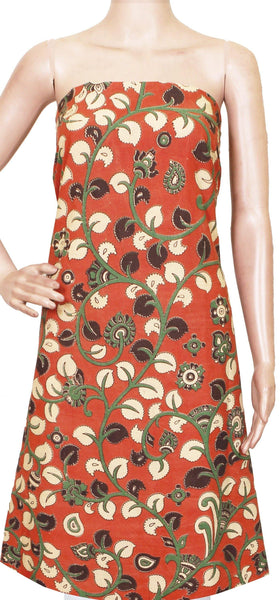 Kalamkari Cotton Salwar Tops/Kurti material with Flourals - Orange(26131G)