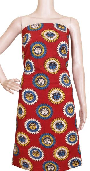 Kalamkari Cotton Salwar Tops/Kurti material with Sun Flowers  - Red(26133A) *Sale 50% Off* - Swadeshi Boutique