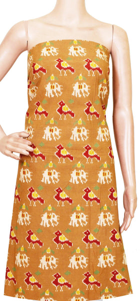 Kalamkari Cotton Salwar Tops/Kurti material with Peacock and Elephant - (26137D)
