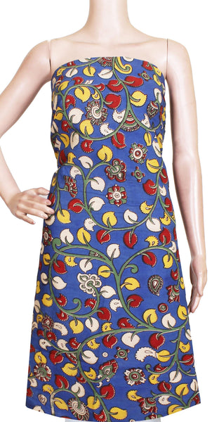 Kalamkari Cotton Salwar Tops/Kurti material with Flourals  - Blue(26139A), Tops - Swadeshi Boutique
