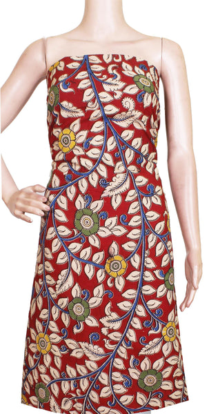 Kalamkari Cotton Salwar Tops/Kurti material with Flowers  - Red (26142A)