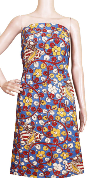 Kalamkari Cotton Salwar Tops/Kurti material with Flourals With Peacock - Blue (26146A), Tops - Swadeshi Boutique