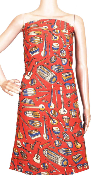 Kalamkari cotton Salwar Tops/Kurti material with Music Instruments- Red (26148A), Tops - Swadeshi Boutique
