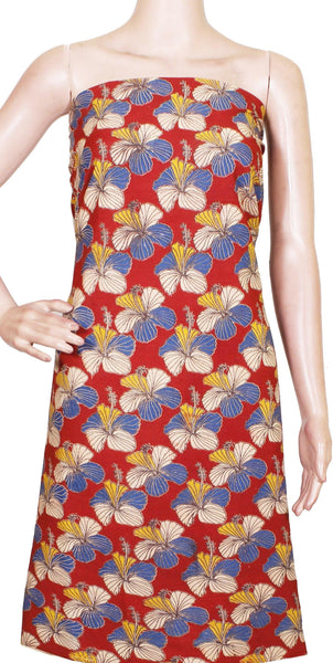 Kalamkari Cotton Salwar Tops/Kurti material with Hibiscus - Red(26151E), Tops - Swadeshi Boutique