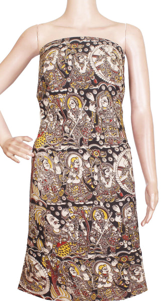 Kalamkari Cotton Salwar Tops/Kurti material with Idols - Black (26153A), Tops - Swadeshi Boutique