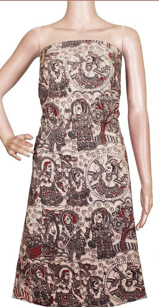Kalamkari Cotton Salwar Tops/Kurti material with Idols - Beige (26153B), Tops - Swadeshi Boutique
