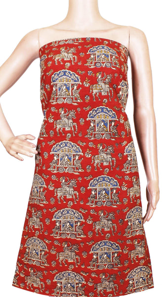 Kalamkari cotton Salwar Tops/Kurti material with Pallaku - Red(26160A), Tops - Swadeshi Boutique