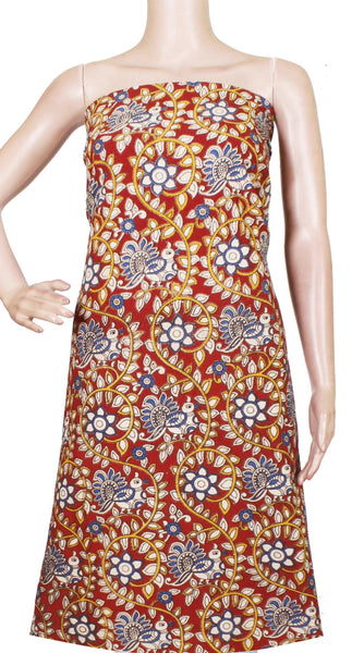 * Popular Sale Rs.75 Off * Kalamkari Cotton Salwar Tops/Kurti material with Flourals and Peacock - Red(26162A) - Swadeshi Boutique