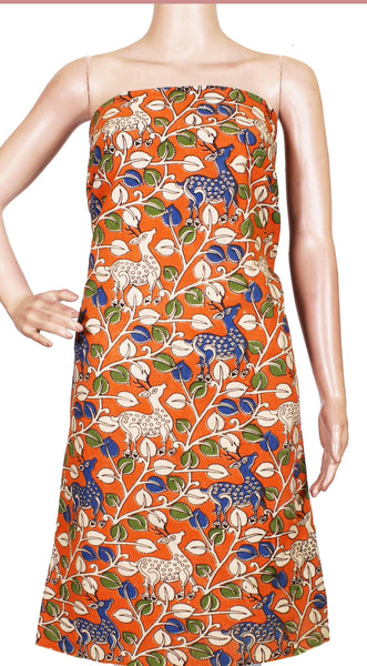 * Popular Sale Rs.75 Off * Kalamkari Cotton Salwar Tops/Kurti material with Flourals and Deer - Orange (26163A)