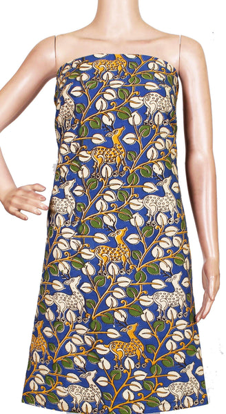 * Popular Sale Rs.75 Off * Kalamkari Cotton Salwar Tops/Kurti material with Flourals and Deer - Blue(26163B)