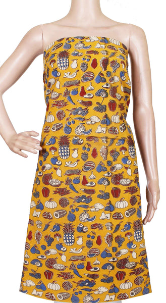 Kalamkari Cotton Salwar Tops/Kurti material with Fruits and Vegetables - Yellow(26165A)